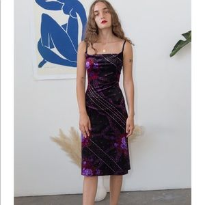 Betsey Johnson crushed purple velvet midi dress sq